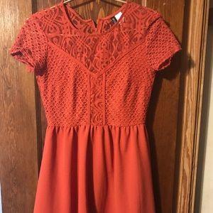 Orange mid length dress